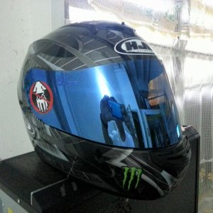 my helmet, hjc cs-r2 blue mirror shield , nosquidding and monster decals...