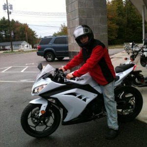 Right after I picked her up... Still in my chef pants in clogs from work..  oh and my old el cheapo helmet haha
